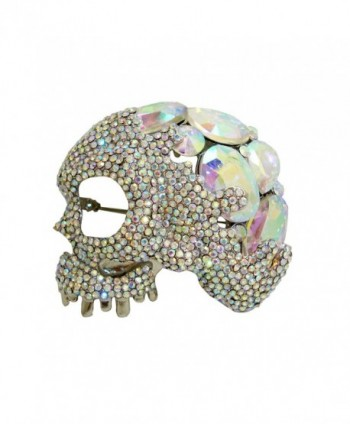 TTjewelry Classic Halloween Skull Clear White AB Austria Crystal Brooch Pin - C2125NRZPGP