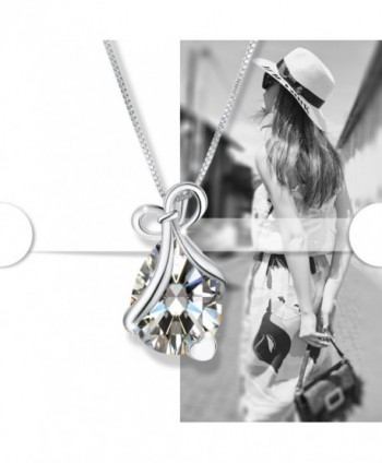 Teardrop Necklace Pendant Zirconia Birthstone