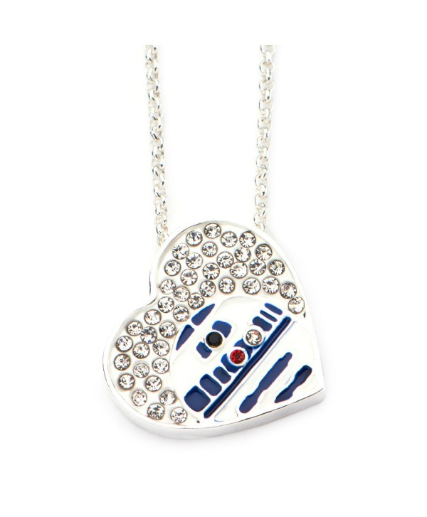 Star Wars Jewelry Silver Plated R2-D2 Heart in Genuine Crystals Pendant with Chain Necklace - CM184SCD84A