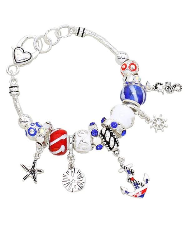 Rosemarie Collections Women's Beach Patriotic USA Beaded Charm Bracelet - C311POL4T3L