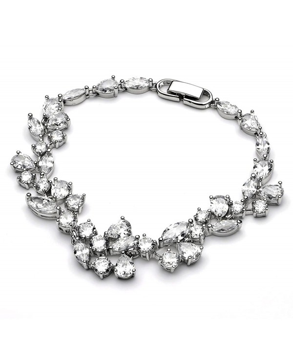 USABride Cubic Zirconia Bridal Bracelet Special Occasion Silver Plated CZ Jewelry 1275 - CV116W2A9OX