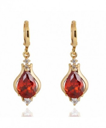 YAZILIND Elegant Unique Design 14K Gold Filled Inlay Teardrop Cubic Zirconia Dangle Drop Earrings for Women - Red - CH11KM1CLV5