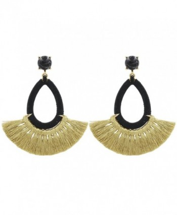 Tassel Earrings Fringe Drop Long Dangling Tiered Thread Earrings - Short Tassel3-Black - C2188TWIS67