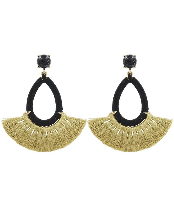 Tassel Earrings Fringe Drop Long Dangling Tiered Thread Earrings - Short Tassel3-Black - C2188TWIS67