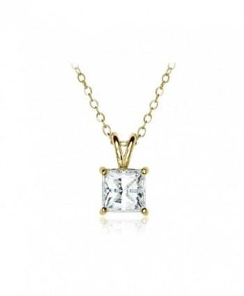 Sterling Silver 6mm Princess-cut Solitaire Necklace created with Swarovski Zirconia - C7186SGSEYQ