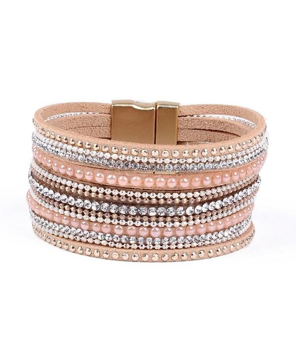 Artilady shinning wrap clasp bangle for women - Pink - CR17YLU4MOS