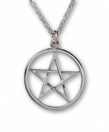Pentacle Polished Silver Finish Medieval Renaissance Pendant Necklace - C211QH5J8S9
