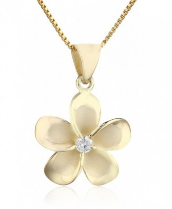 "14k Yellow Gold Plated Sterling Silver CZ Plumeria Pendant Necklace with 18"" Box Chain - CK1178O8J8D"