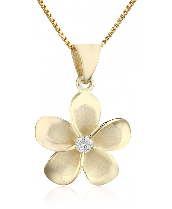 """14k Yellow Gold Plated Sterling Silver CZ Plumeria Pendant Necklace with 18"""" Box Chain - CK1178O8J8D"""