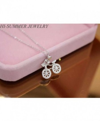 Helen de Lete Lovely Bike Rhinestone Sterling Silver Necklace - CT12GA83RO7