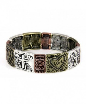 4030577 Christian Hearts Crosses Faith Hope Love Stretch Bracelet Religious Bible - CG110PG2EG9