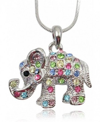 Adorable Little Crystal Elephant Charm Silver Tone Necklace for Girls- Teens and Women - Rainbow - C511PLAMIUP