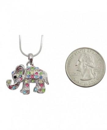 Adorable Crystal Elephant Necklace Rainbow
