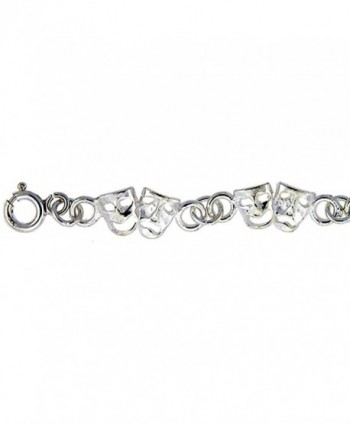 Sterling Silver Anklet with Comedy & Tragedy Drama Masks- fits 9 - 10 inch ankles - CT115PAWNU1