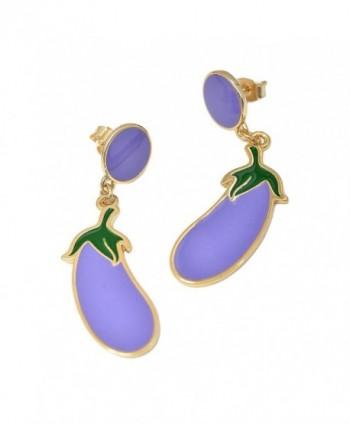 Spinningdaisy Gold Plated Fun Lavender Eggplant Earrings - CX125PDUKH1