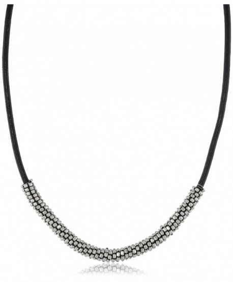"""Kenneth Cole New York """"Seed Bead Boost"""" Bead Wrapped Leather Necklace- 20"""" - C611HGKFY8R"""