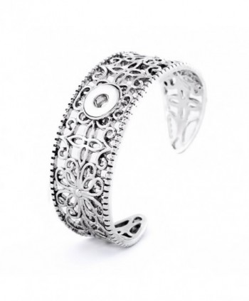 Lovmoment Mini Bracelet 12MM Hollow Flower Wide Metal Snap Jewelry Bracelets - C812OBFTH2J