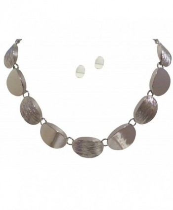 Silver Tone Textured Statement Necklace Earring Jewelry Set for Women - CR11N5NIJF9