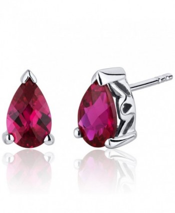 2.00 Carats Created Ruby Pear Shape Basket Style Stud Earrings in Sterling Silver Rhodium Nickel Finish - C3116ULJOVB