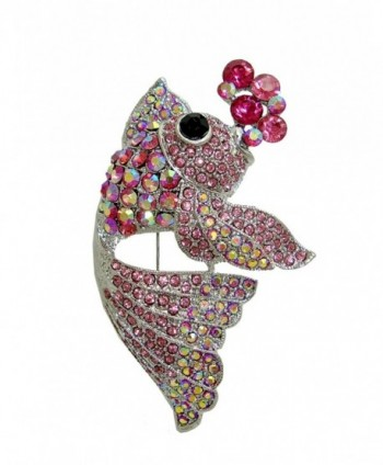 TTjewelry Lovely Nagao Fish Austria Crystal Art Nouveau Brooch Pin - Pink - CO125ZYYYDL