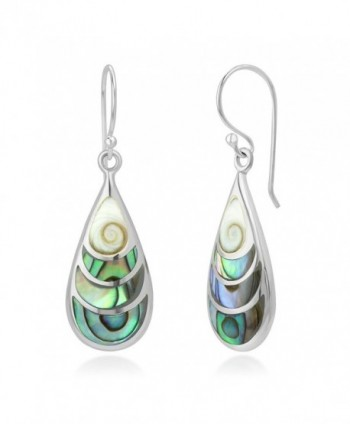 "925 Sterling Silver Shiva Eye and Green Abalone Shell Inlay Teardrop Dangle Hook Earrings 1.4"" - C012DL2C2J7"
