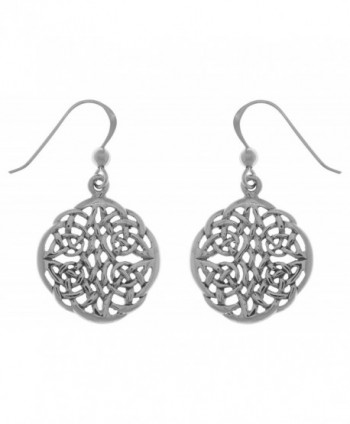 Jewelry Trends Sterling Silver Celtic Knot Round Dangle Earrings - CN120345TMD