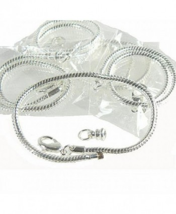 "Rockin Beads 5 Pack 7-1/2"" Bracelet Snake Chain Fits Pandora Chamilia Troll Biagi Beads Fits 3.5mm Holes - C911D6PMTB1"