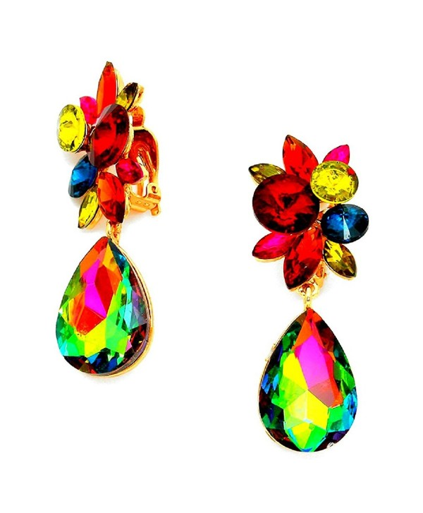 Big Multi Color Vitrail Cz Crystal Clip-on Gold Earrings Pageant Drag Queen Wedding Bridal Evening Bride - CL128BE9JPZ
