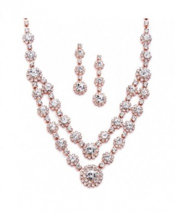Mariell Blush Rose Gold 2-Row Rhinestone Crystal Necklace Earrings Set for Prom- Brides & Bridesmaids - CQ12O49TWC2