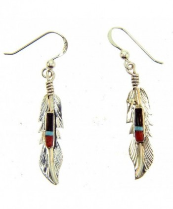 Beautiful Sterling silver Feather earrings inlayed - CR1150QKJ9N
