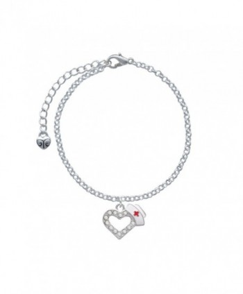 Delight Small Crystal Heart with Nurse Hat Charm Bracelet - CL11K6THJV5