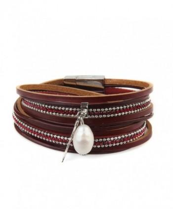Genuine Leather Vintage Bracelet Jenia - cuff bracelet-red - CH184445N02
