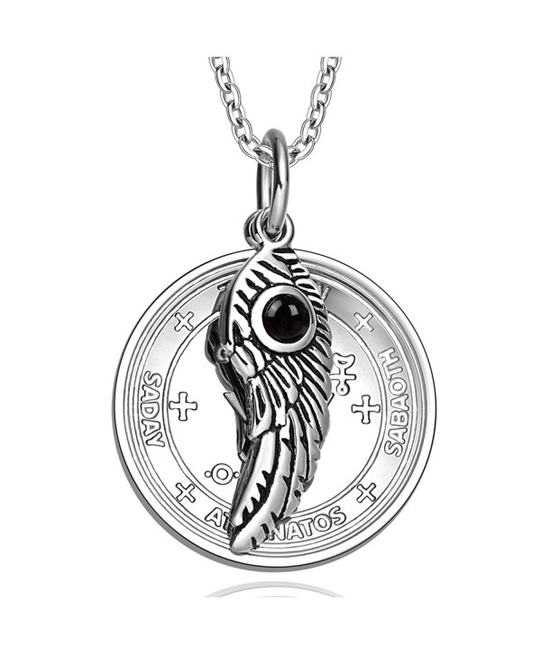 Archangel Michael Sigil Amulet Magic Powers Angel Wing Simulated Black Onyx Pendant 18 Inch Necklace - CW11UNTJTQB
