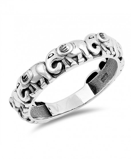 Elephant Animal Cute Stackable Thumb Ring .925 Sterling Silver Band Sizes 5-12 - CE187Z4TKGY