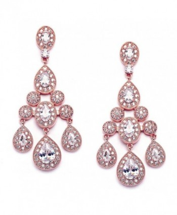 Mariell Gatsby Style Vintage 14KT Rose Gold Plated Wedding or Evening Cubic Zirconia Chandelier Earrings - CX17X0HXIRQ