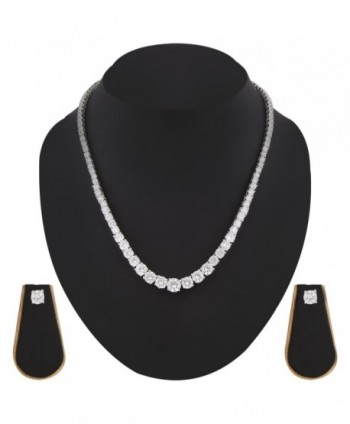 Swasti Jewels Solitaire Necklace Earrings in Women's Jewelry Sets