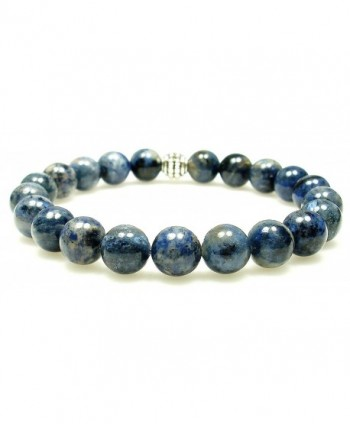 DUMORTIERITE 8mm Round Genuine Crystal Gemstone Beaded Bracelet on Elastic Cord - CN12O5M1D8B