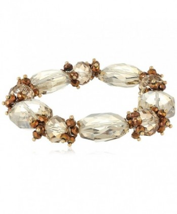 1928 Jewelry Light Topaz Color and Bronze Faceted Beaded Stretch Bracelet - Brown - CP12J4GZN0J