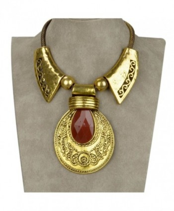 SUMAJU Statement Necklace- Bib Collar Statement Necklace Pendant Vintage Lucite Carved Teardrop For Women - Red - C312N4TVT97