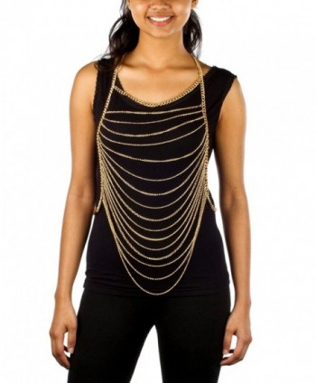 Ladies Goldtone Horizontally Layered Body Chain - C711DXJJN9L