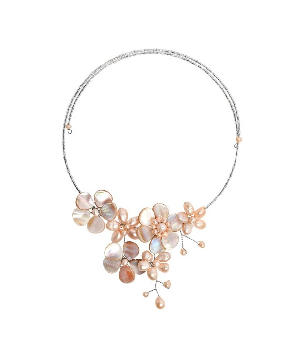 Floral Mother of Pearl & Cultured Freshwater Pink Pearl Cluster Choker Wrap Necklace - CQ11PLRYPFF