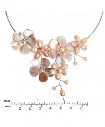 Floral Cultured Freshwater Cluster Necklace in Women's Choker Necklaces