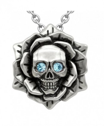 "Skull Rose Birthstone Necklace With Swarovski Crystal 17"" - 19"" Adjustable Chain - 03-March – Blue - CJ182Z567TX"