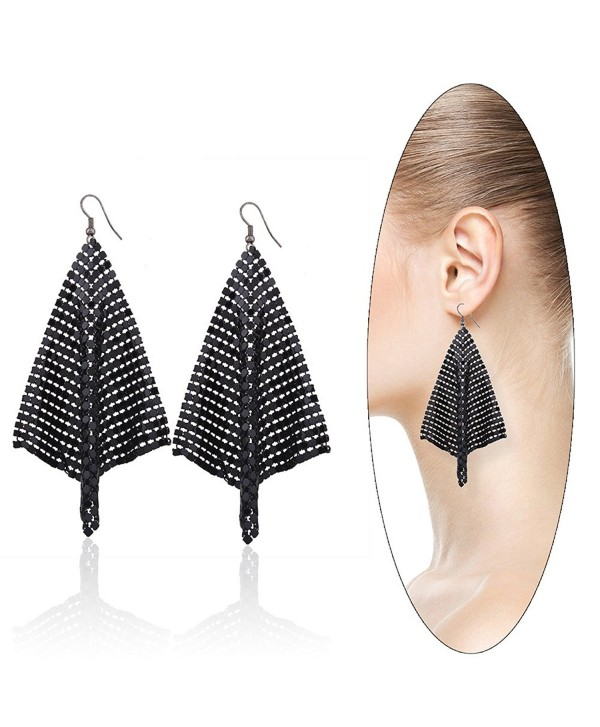 Eternity J. Women's Stylish Lightweight Sequin Mesh Dangle Earrings Hook Drop Earrings Fashion Jewelry - Black - CA185X4OCOZ