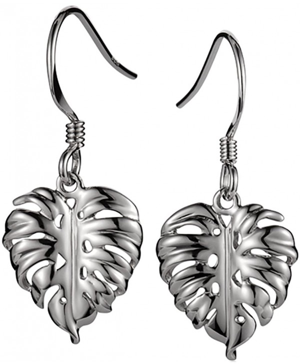 925 Sterling Silver Hawaiian Jewelry Monstera Earrings - Hook - CO12MMU787F