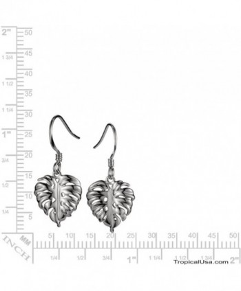 Sterling Hawaiian Jewelry Monstera Earrings