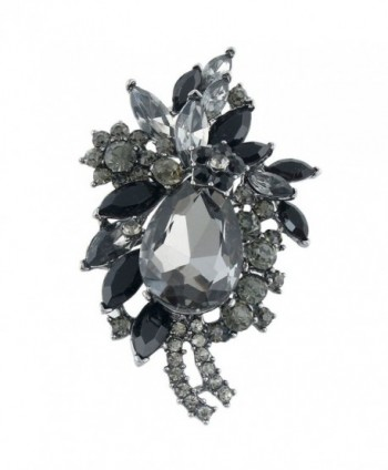 EVER FAITH Women's Rhinestone Crystal Vintage Style Flower Teardrop Brooch Pendant - Black Black-Tone - CW11F9DPTOH
