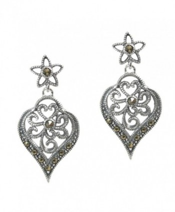 Sterling Silver Natural Marcasite Filigree Flower Leaf Stud Post Dangle Earrings - CC11QXX8TUD