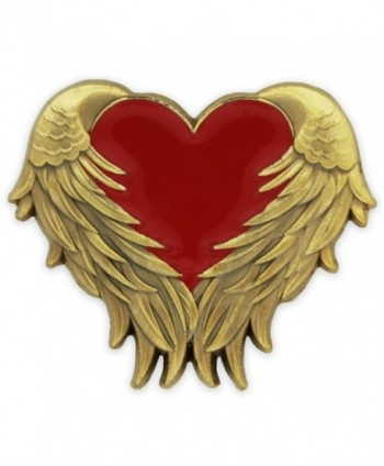 PinMart's Red Heart with Antique Gold Angel Wings Enamel Lapel Pin - CB11SN28JON