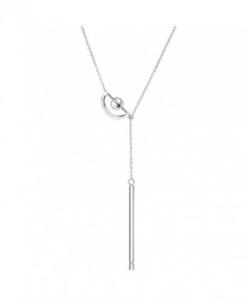 OSIANA Y Necklace- Womens Titanium Stainless Steel with CZ Crystal Necklace in Gift Box - Moon Chain-02silver - CQ17YU48I7M